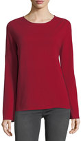 Neiman Marcus Cashmere Basic Crewneck Pullover Sweater, Red
