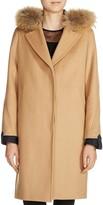 Maje Gasby Real Fur Trim Camel Coat