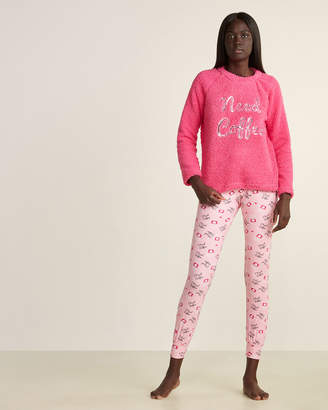E.m. & Alfie Two-Piece Sherpa Top & Printed Pants Pajama Set