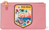 Miu Miu Appliquéd Printed Textured-leather Pouch - Pink