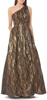 JS Collections Metallic Jacquard Gown