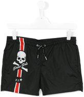 Philipp Plein logo print swim shorts - kids - Polyester - 14 yrs