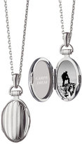 "Monica Rich Kosann 3/4"" Pinstriped Silver Oval Locket Necklace"