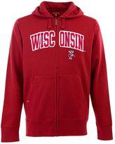 Antigua Men's Wisconsin Badgers Signature Zip Front Fleece Hoodie