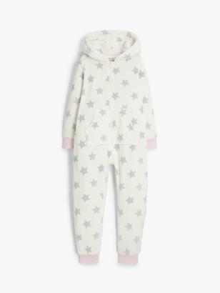 John Lewis & Partners Girls' Fleece Polar Bear Star Onesie, Neutral