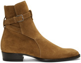 Saint Laurent Tan Suede Wyatt Jodhpur Boots