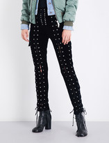 Unravel Laced-detail skinny velvet trousers