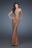 La Femme 18431 Strapless Copper Embellished Sheath Gown