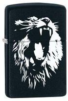 "Zippo Black & White Lion"" Matte Black Color Lighter"