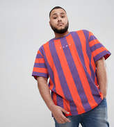 Puma PLUS Vertical Stripe T-Shirt In Red Exclusive To ASOS