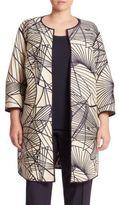 Lafayette 148 New York, Plus Size Darby Spiral Jacquard Reversible Coat