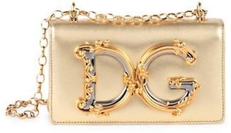 Dolce & Gabbana Barocco Metallic Leather Crossbody Bag