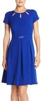 Ellen Tracy Cutout Neck Fit & Flare Dress (Regular & Petite)
