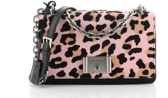 Prada Chain Flap Shoulder Bag Pony Hair and Nylon Medium