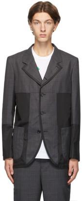 Comme des Garçons Homme Deux Grey and Black Panelled Check Blazer
