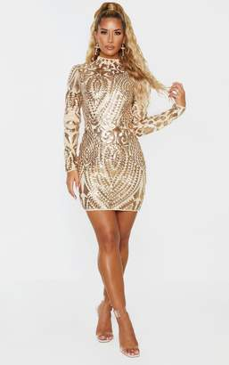PrettyLittleThing Gold Sequin Patterned Open Back Bodycon Dress