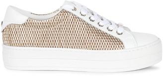 J/Slides Hilton Laser Metallic Low-Cut Leather Sneakers