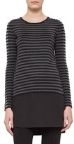 Akris Punto Striped Knit Long-Sleeve Tunic, Black/Cliff/Grave