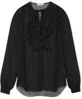 L'Agence Tabitha Ruffled Printed Crinkled-chiffon Blouse - Black