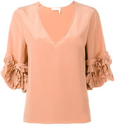 See by Chloe frilled sleeve blouse - women - Silk/Viscose - 38
