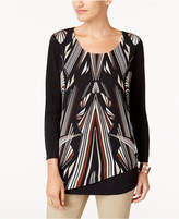 JM Collection Printed Asymmetrical-Hem Top, Created for Macy's