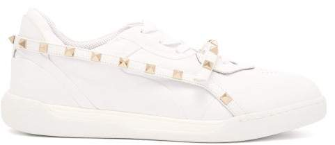 Valentino Rockstud Low Top Leather Trainers - Womens - White