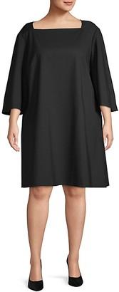 Lafayette 148 New York Plus Bell-Sleeve A-Line Dress