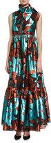 DELPOZO Sleeveless Tie-Neck Metallic Burnout Gown