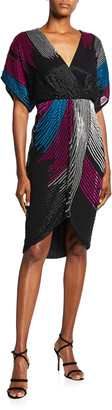 Aidan Mattox Beaded Dolman-Sleeve Faux-Wrap Dress