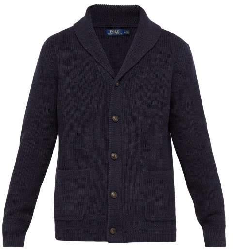 Polo Ralph Lauren Shawl Collar Ribbed Knit Cotton Cardigan - Mens - Navy