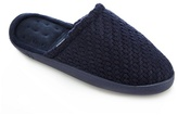 Totes Navy Textured Knit Slippers