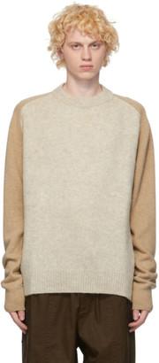 Jil Sander Brown and Beige Panelled Sweater