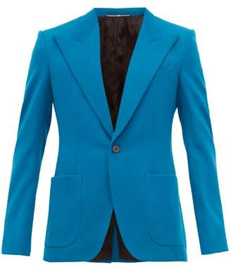Givenchy Single-breasted Twill Suit Jacket - Mens - Blue
