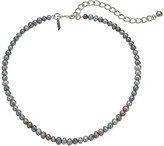 Kenneth Jay Lane Grey Freshwater Pearl Choker with Rhodium Clasp Necklace