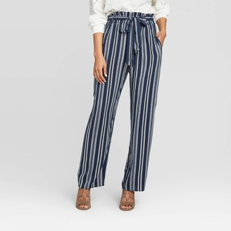 Xhilaration Women's Striped Belted Paperbag Waist Wide-Leg Palazzo Pants - XhilarationTM