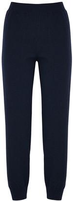Stella McCartney Navy Lace-panelled Cashmere-blend Sweatpants