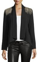 Haute Hippie Drape Front Blazer with Shoulder Embellishments
