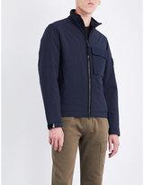 Stone Island Mens Navy Buttoned Exposed Zip Softshell Primaloft Shell Jacket