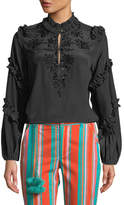Figue Amelia Long-Sleeve Ruffled Sequined Blouse