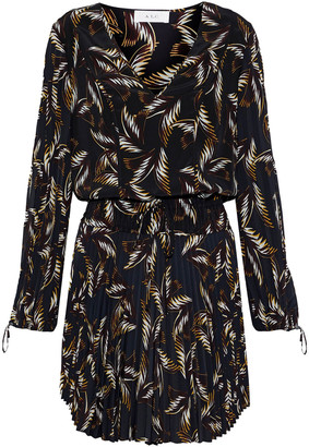 A.L.C. Rory Pleated Printed Silk Crepe De Chine Mini Dress