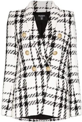 Balmain double-breasted checked tweed blazer