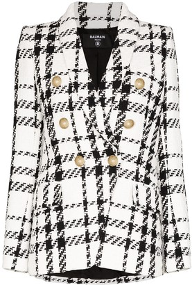 Balmain Double-Breasted Checked Tweed Blazer