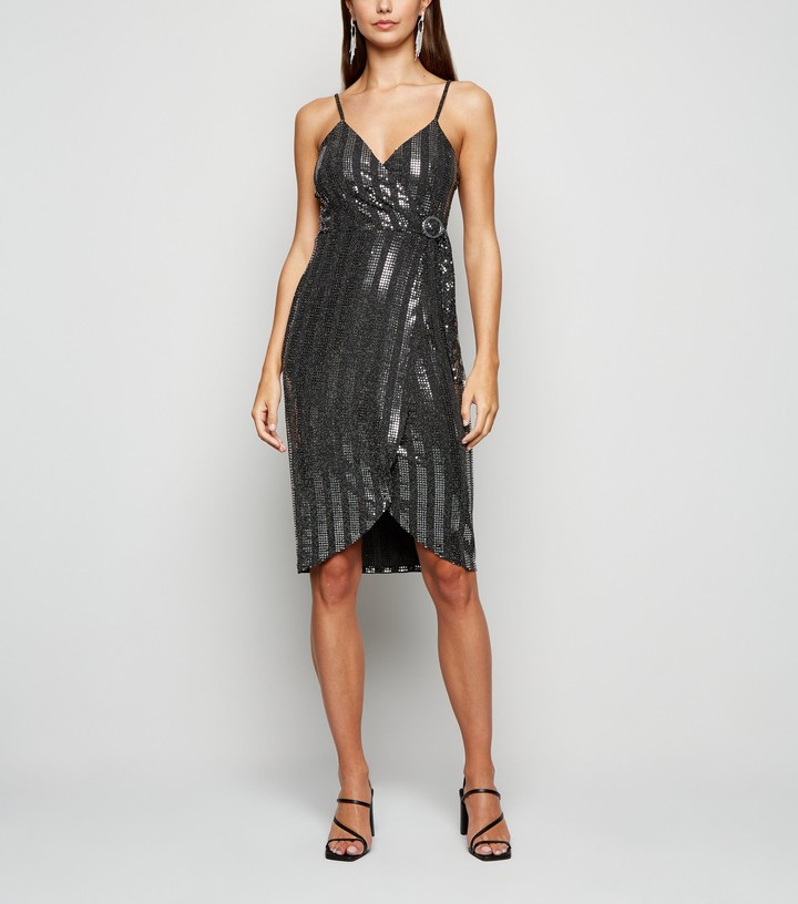 Thumbnail for your product : New Look Blue Vanilla Sequin Wrap Dress