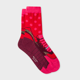 Paul Smith Women's Red Polka Dot Trainer Pattern Socks