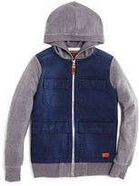 7 For All Mankind Boys' Twill & Fleece Hooded Jacket - Sizes 8-16