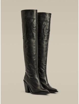 Tommy Hilfiger Crest Embroidery Over-Knee Boots