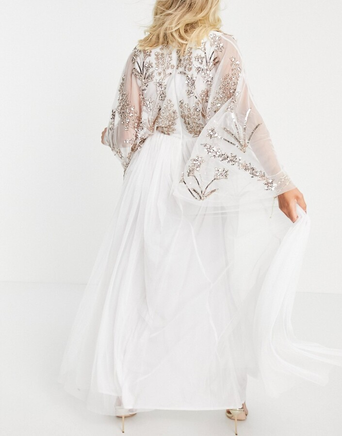 Thumbnail for your product : Maya Maternity embellished maxi dress with balloon sleeve in white