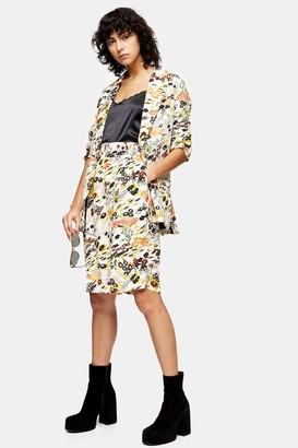 Topshop Womens Idol Longer Length Slouch Leaf Print Shorts - Multi