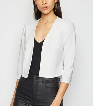 New Look Crepe Cropped 3/4 Sleeve Blazer