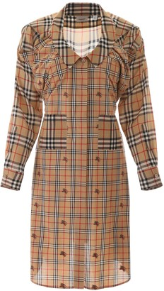 Burberry Check Panelled Shirt Dress